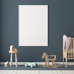 Mockup poster in the children's room in pastel colors. Scandinavian style. 3d illustration.