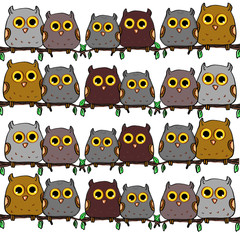 Cute owls sitting on a branch white background