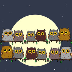 Cute owls sitting on a branch single  the moon background