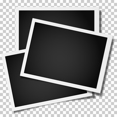 Group of retro realistic vector photo frames placed on white background. Template photo design.