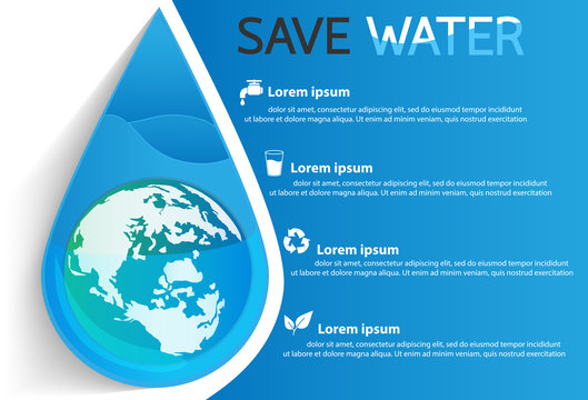 save water info graphic design vector or background