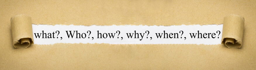Obraz what?, who?, how?, why?, when?, where? - fototapety do salonu