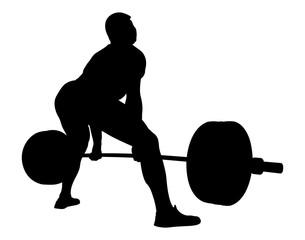 back athlete powerlifter exercise deadlift black silhouette