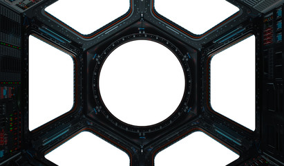 Fototapete - Space station window 3D rendering