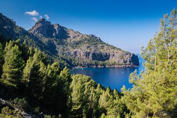 mediterranean mountains against blue sky