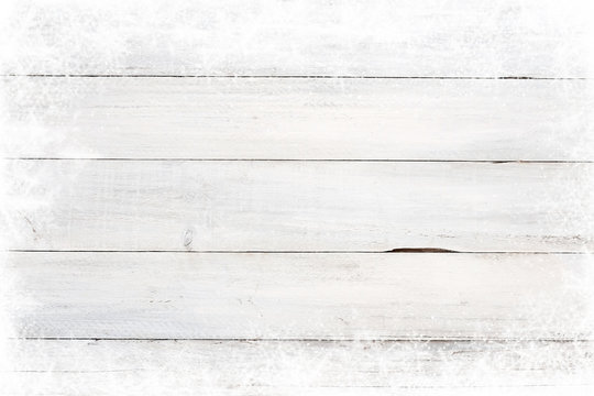 Christmas background - Old white wood texture with snow.  topview, border design. vintage and rustic style
