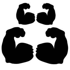 Biceps, strength, muscles, black silhouette on a white background.vector