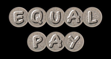 EQUAL PAY – Coins on black background