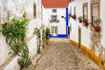 Streets of the old city of Obidos, Portugal