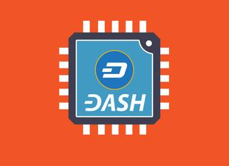 Concept of  DASH Coin, a Cryptocurrency blockchain platform , Digital money