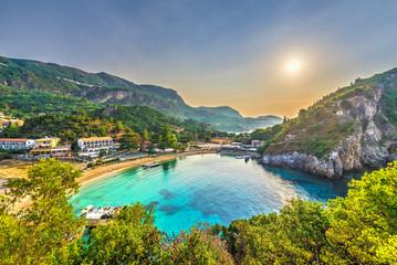 Wall Mural - Palaiokastritsa beach on Corfu islands, Greece.