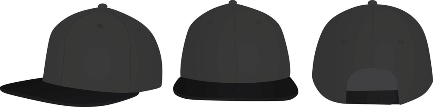 Snap back cap. vector illustration