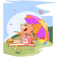 Illustration of a Cute Cat. Summer Picnic