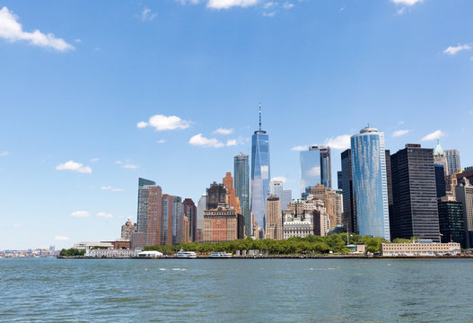 Lower Manhattan skyline New York City from bay NYC USA
