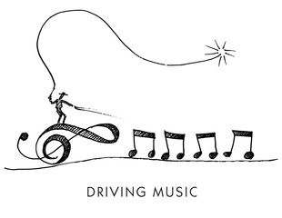 A whimsical cartoon called Driving Music for print or web