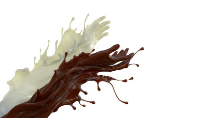 Mixed splash of coffe and milk. Giving hands in liquid sculpture of beverages. 3d illustration isolated on white background