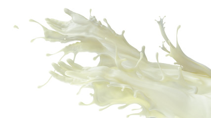 Mixed splash of fat milk. Giving hands in liquid sculpture of beverages. 3d illustration isolated on white flat background