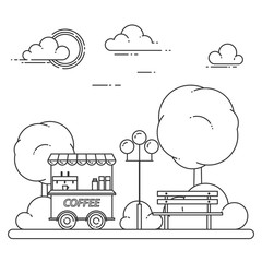 Autumn city landscape with bench, coffee truck in central park. Vector illustration. Line art.