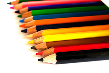 Crayons are combined on a white background.