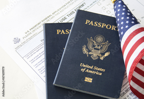 Immigration Concept Passport Renewal Form Passports And Flag