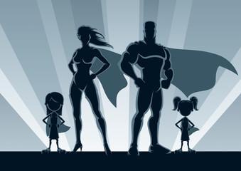Fotobehang Superheroes Superhero Family 2 Girls / Superhero family posing in front of lights.