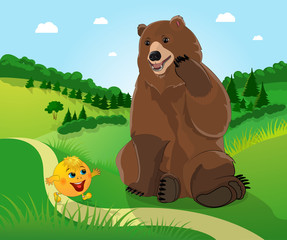 Bear and bun kolobok .