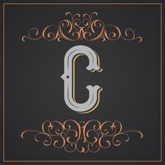 Retro style. Western letter design. Letter C
