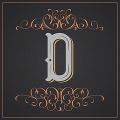 Retro style. Western letter design. Letter D