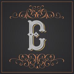 Retro style. Western letter design. Letter E