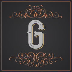 Retro style. Western letter design. Letter G
