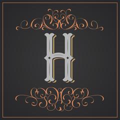 Retro style. Western letter design. Letter H