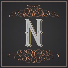 Retro style. Western letter design. Letter N