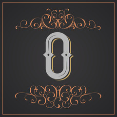 Retro style. Western letter design. Letter O