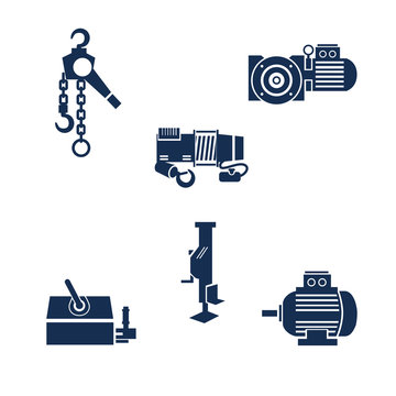 Icons of different types of lifting devices