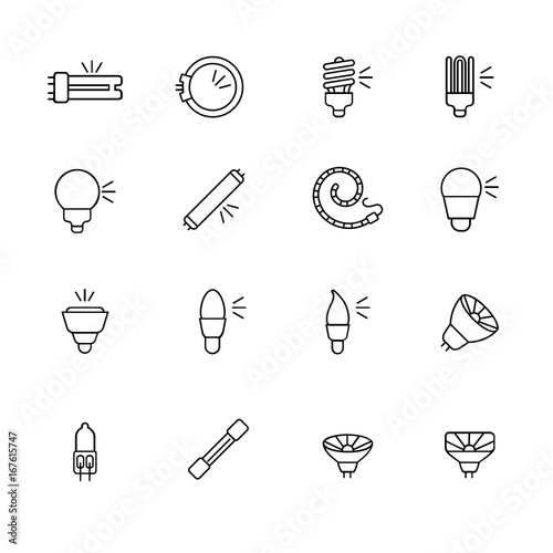 Types Of Light Bulbs For Different Types Of Lighting As Line Icons / There  Are Some