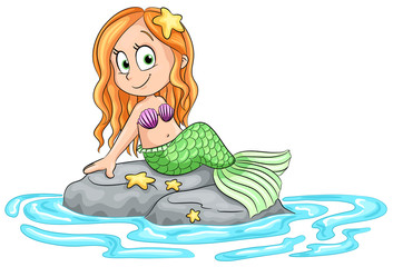 Niedliche Meerjungfrau auf Felsen - Vektor Illustration