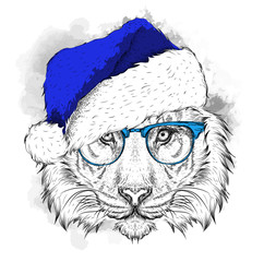 The christmass poster with thetiger portrait in hip-hop hat. Vector illustration. Abstract Background with Watercolor Stains