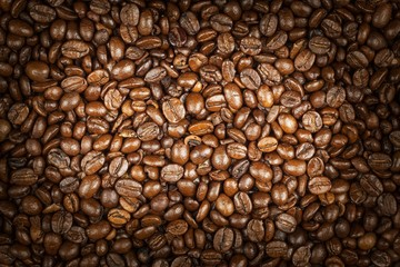 Coffee beans. Fresh roasted coffee. Sale of coffee.