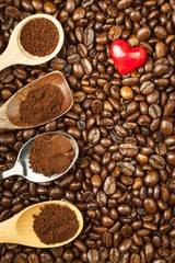 Coffee beans and red hearts. We love coffee. Fresh coffee advertising.
