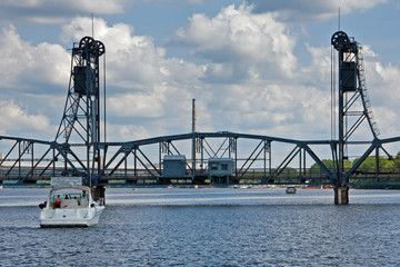 Boat Approaching Lift Bridge