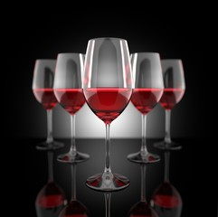 Red wine glass set 3D illustration