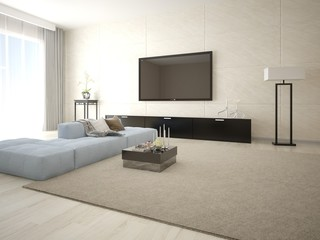 Mock up poster TV in a modern living room with stylish furniture.