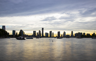 Amazing sunset on Jersey city from west Manhattan - long exposure to silk the water