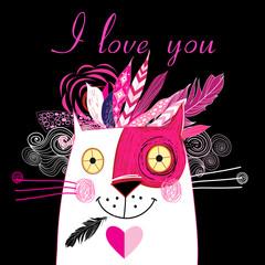 Vector in love cat