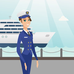Caucasian female ship captain standing on the background of sea and cruise ship. Young smiling ship captain in uniform standing on the seacoast background. Vector cartoon illustration. Square layout.