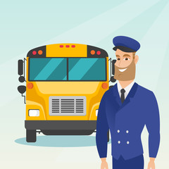 Caucasian cheerful school bus driver standing on the background of yellow bus. Smiling hipster school bus driver in uniform. Cheerful school bus driver. Vector cartoon illustration. Square layout.