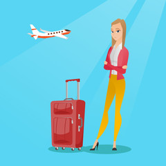 Young caucasian airplane passenger frightened by future flight. Woman suffering from fear of flying. Terrified passenger with suitcase waiting for a flight. Vector cartoon illustration. Square layout.