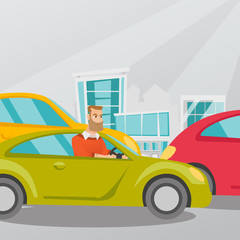 Angry caucasian man in a car stuck in a traffic jam. Irritated young hipster man driving a car in a traffic jam. Agressive driver honking in a traffic jam. Vector cartoon illustration. Square layout.