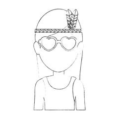 Hippie woman cartoon