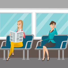 Caucasian women traveling by public transport. Woman using mobile phone while traveling by public transport. Woman reading newspaper in public transport. Vector cartoon illustration. Square layout.